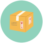 Icon with a moving box representing help getting organized during a move or other life transition