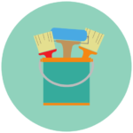 Icon showing cans of paint representing help organizing for a home renovation